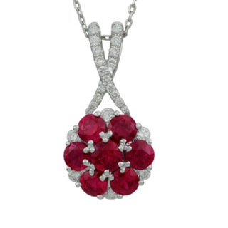 Antwerp's 18k White Gold Ruby and 1/4ct TDW Diamond Star Crossed Necklace (G-H, VS1-VS2)