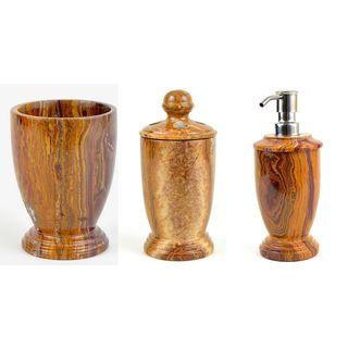 Nature Home Decor Atlantic Collection Multi Brown Onyx 3-Piece Bathroom Accessory Set