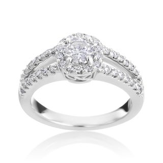 Andrew Charles 14k White Gold 1ct TDW Diamond Double Band Halo Ring