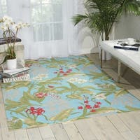 Waverly Sun N' Shade Wailea Coast Indoor/ Outdoor Aqua Area Rug by Nourison (7'9 x 10'10)