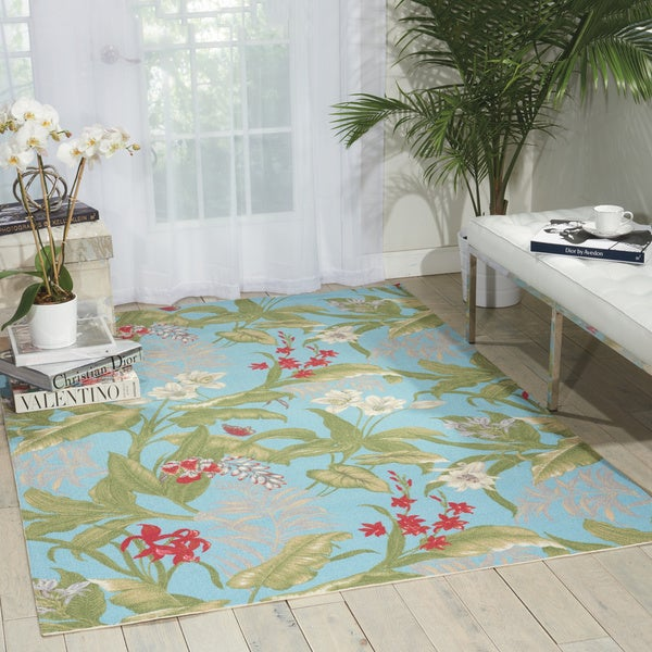 Waverly Sun N' Shade Wailea Coast Indoor/ Outdoor Aqua Area Rug by Nourison