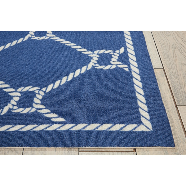 Waverly Sun N' Shade Rope Navy Indoor/ Outdoor Area Rug By Nourison (7'9 X 10'10) by Nourison