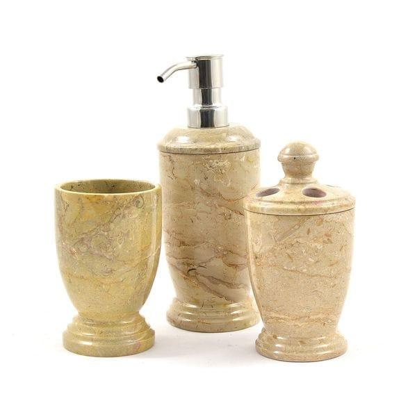 Nature Home Decor Atlantic Collection Sahara Beige Marble 3-Piece Bathroom Accessory Set
