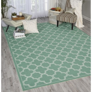 Waverly Sun N' Shade Emerald Indoor/ Outdoor Rug by Nourison (7'9 x 10'10)