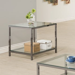 """Coaster Company Nickel and Glass End Table - 24"""" x 26"""" x 23"""""""