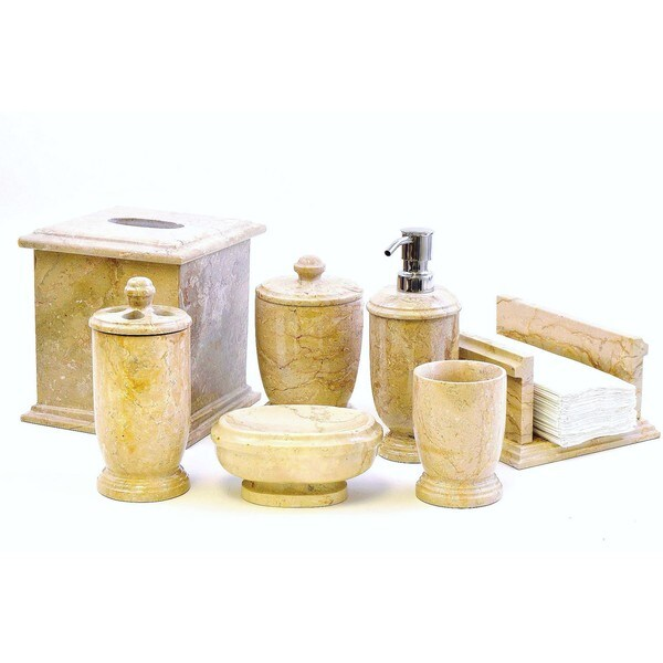 Nature Home Decor Sahara Beige Marble 5-piece Bathroom Accessory Set of Atlantic Collection