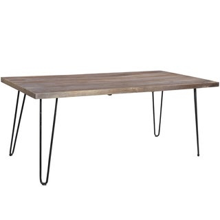 Wanderloot Portland Grey Wash Mango Wood Dining Table with Hairpin Legs