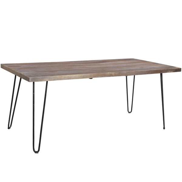 Wanderloot Portland Grey Wash Mango Wood Dining Table with Hairpin Legs. Wanderloot Portland Grey Wash Mango Wood Dining Table with Hairpin