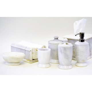 White Marble 7-piece Bathroom Accessory Set