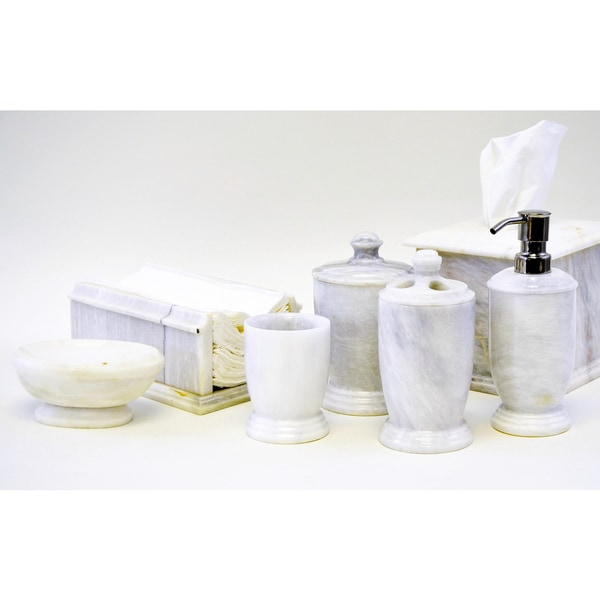 Nature home decor white marble 7 piece bath and spa for White bath accessories sets