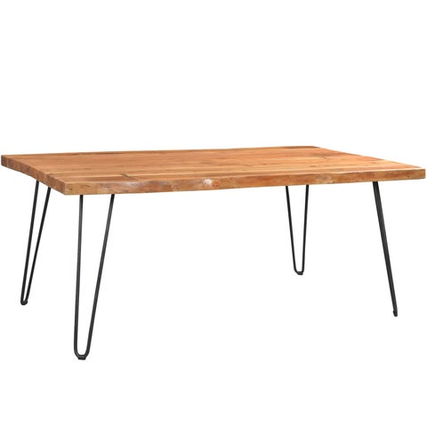 Handmade Wanderloot Mojave Sustainable Live Edge Acacia Dining Table with Black Hairpin Legs (India)