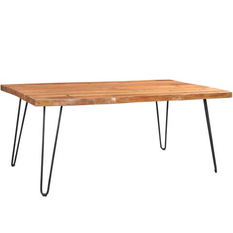 "Handmade Wanderloot Mojave Sustainable Live Edge Acacia Dining Table with Black Hairpin Legs (India) - 31""H x 40""W x 71""L"