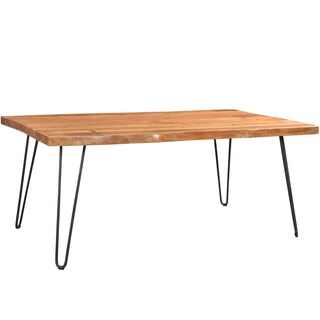Wanderloot Mojave Sustainable Live Edge Acacia Dining Table with Black Hairpin Legs