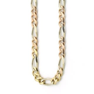 Decadence 14K Tri-Color Gold 4.70mm Figaro 120 Lite Chain|https://ak1.ostkcdn.com/images/products/12192232/P19040754.jpg?impolicy=medium