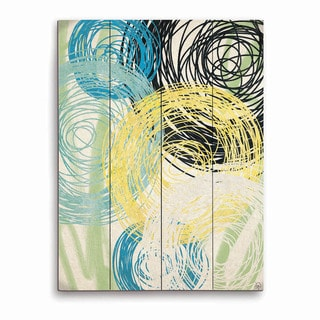 Spinning Yellow Green And Blue Flowers Graphic on Wood