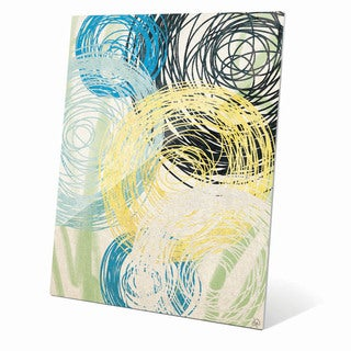 Spinning Yellow Green And Blue Flowers Graphic on Glass
