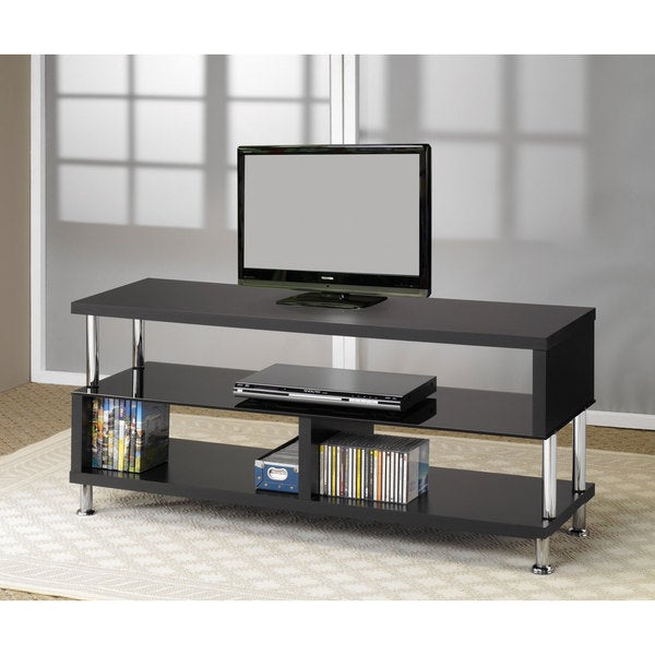 Shop Coaster Company Black And Chrome Tv Stand Free Shipping Today