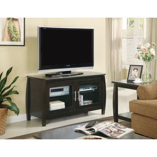 Cappuccino Glass Doors TV Console
