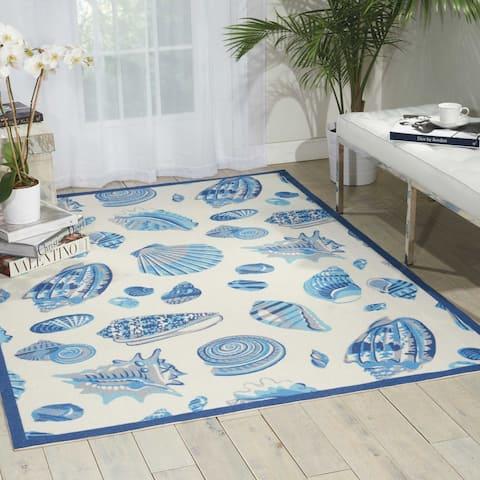 Waverly Sun N' Shade Shell Blue Shells Indoor/Outdoor Area Rug
