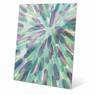 Green And Purple Daub Explosion Graphic on Glass