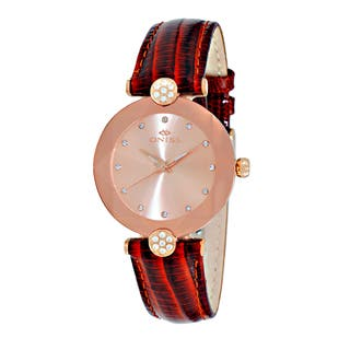 Oniss Ladies' ON8776 Swiss 'Facet' Rose-tone Stainless Steel and Leather Crystal Watch|https://ak1.ostkcdn.com/images/products/12193277/P19041782.jpg?impolicy=medium