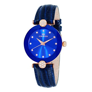 Oniss ON8776 Women's Swiss 'Facet' Rose-tone Stainless Steel and Blue Leather Crystal Watch