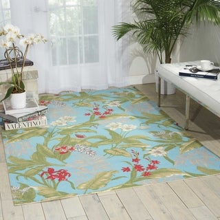 Waverly Sun N' Shade Wailea Coast Aqua Indoor/ Outdoor Area Rug by Nourison (5'3 x 7'5)