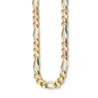 Decadence 14k Tri-color Gold 3.20-millimeter Figaro 080 Lite Chain