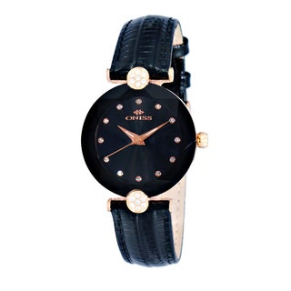 Oniss ON8776 Ladies Swiss -inchFacet-inch Rose tone/Black Stainless Steel and Leather Crystal Watch