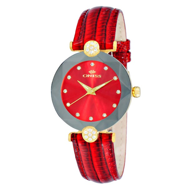 Oniss ON8776 Ladies Swiss -inchFacet-inch Stainless Steel & Leather Crystal Watch-Gold tone/Red