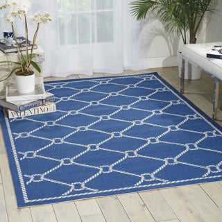 Waverly Sun N' Shade Rope Navy Indoor/ Outdoor Area Rug by Nourison (5'3 x 7'5)