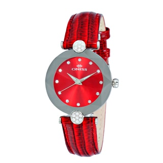 Oniss ON8776 Ladies Swiss -inchFacet-inch Stainless Steel & Leather Crystal Watch-Silver tone/Red