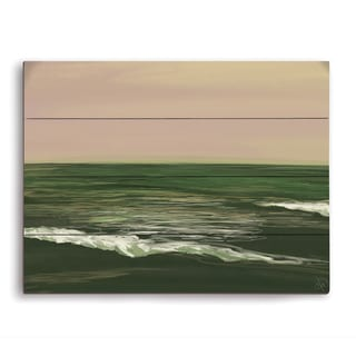 Ocean Sketch Peach/Green Graphic on Wood
