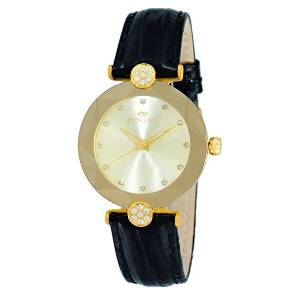 Oniss Facet Ladies' Goldtone Stainless Steel & Leather Crystal Watch-Gold tone/G