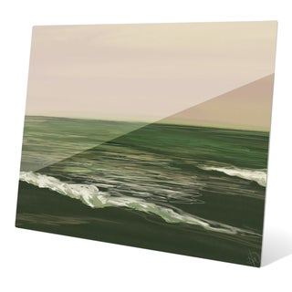 Ocean Sketch Peach/Green Graphic on Glass