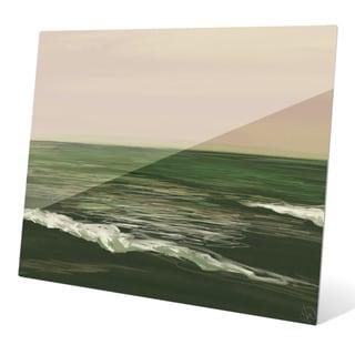 Ocean Sketch Peach/Green Graphic on Glass