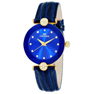 Oniss ON8776 Ladies Swiss -inchFacet-inch Stainless Steel & Leather Crystal Watch-Gold tone/Blue