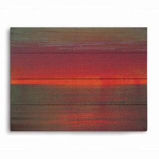 Fern and Vermillion Horizon Graphic on Wood