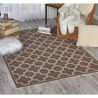 Waverly Sun N' Shade Chocolate Indoor/ Outdoor Rug by Nourison - 5'3 x 7'5