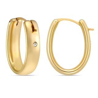Forever Last 14k Oval Polished Yellow Gold Hoop Earring with Crystal Accent