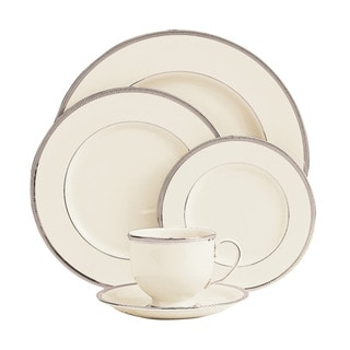 Lenox Tuxedo Platinum Silver/Ivory China 5-Piece Boxed Place Setting