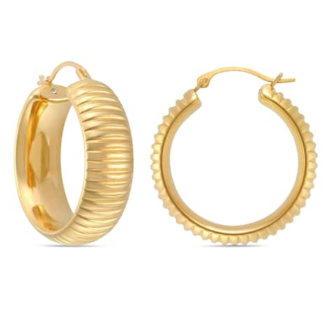 Forever Last 14k Yellow Gold Round Ribbed Hoop Earring