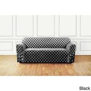 Sure Fit Buffalo Check Sofa Slipcover (Black)