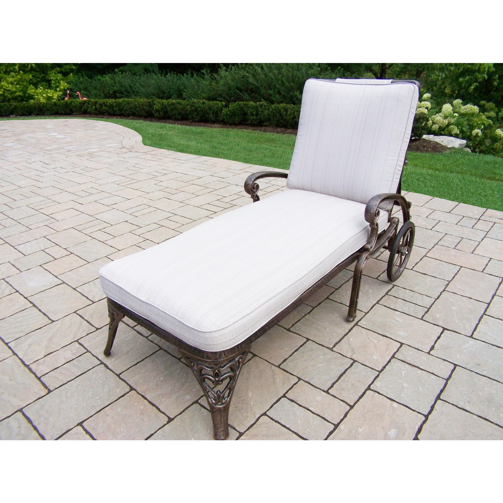 Cast Aluminum Chaise Lounge With Wheels