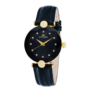 Oniss ON8776 Women's Goldtone/Black Swiss Facet Stainless Steel & Leather Crystal Watch