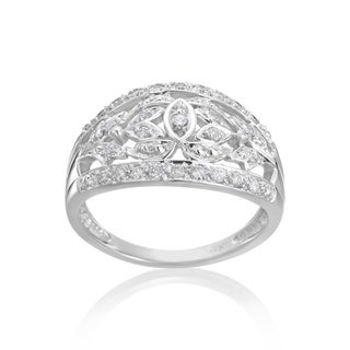 Andrew Charles 14k White Gold 1/3ct TDW Diamond Antique Floral Ring