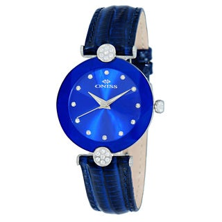 Oniss ON8776 Women's Stainless Steel & Leather Blue Crystal Watch