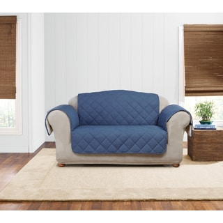Sure Fit Quilted Denim Sherpa Love Seat Furniture Protector
