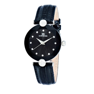 Oniss ON8776 Women's Silvertone/Black Swiss 'Facet' Stainless Steel & Leather Crystal Watch