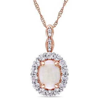 Miadora 14k Rose Gold Oval-cut Opal White Topaz and Diamond Accent Halo Necklace